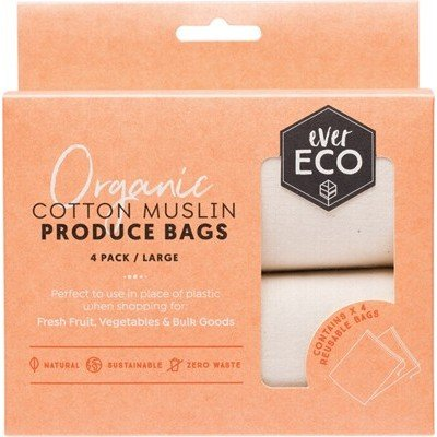 Ever Eco Organic Cotton Muslin Produce Bags - 4 pack