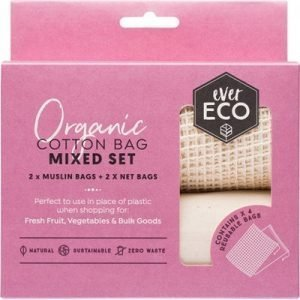 Ever Eco Organic Cotton Produce Bags - Mixed Set 4 pack