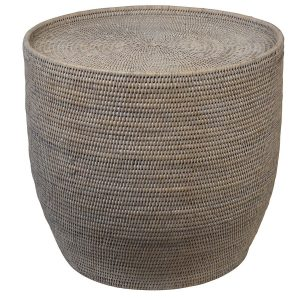 Coastal Whitewash Rattan Side Table