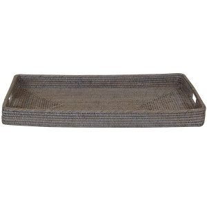 Coastal Whitewash Rattan Rectangle Tray
