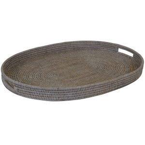 Coastal Whitewash Rattan Large Oval Tray