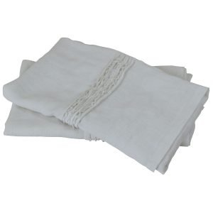 White French Vintage Linen Pillowcase Pair