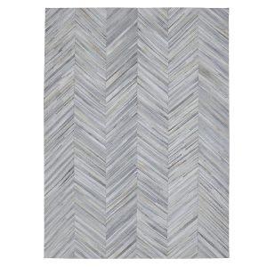 Cowhide Patchwork Rug in Silver Grey Chevron Design