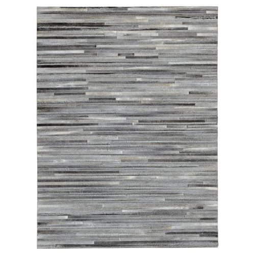 Cowhide Patchwork Rug in Lines Design