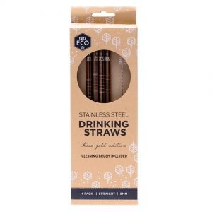 Ever Eco Rose Gold Straight Stainless Steel Straws - 4 pack